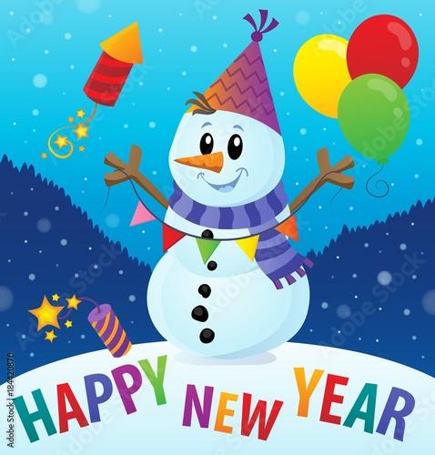 Plexiglas Voor kinderen Happy New Year theme with snowman 2