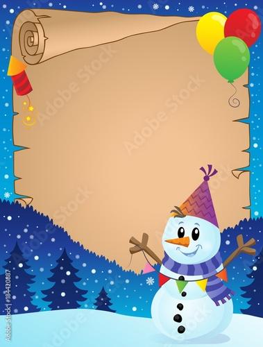 Plexiglas Voor kinderen Parchment with party snowman theme 1