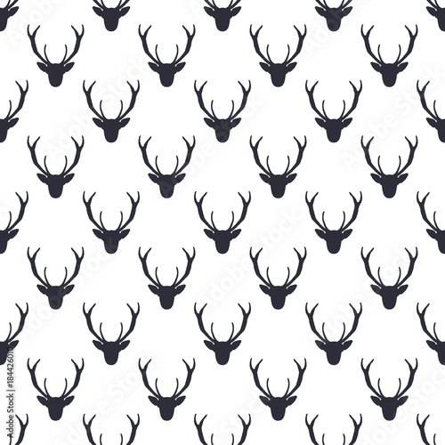 Fotobehang Hipster Hert Deer head pattern. Wild animal symbols seamless background. Deers icon. Retro wallpaper. Stock vector illustration isolated on white. Monochrome design