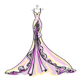 wedding dress design, pink, on a white