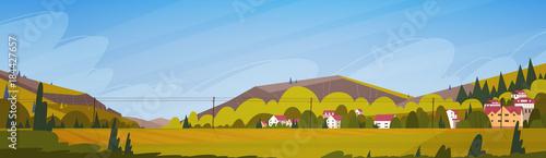 Fotobehang Boerderij Nature Mountains Summer Landscape With Small Village Horizontal Banner Flat Vector Illustration