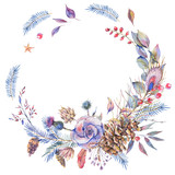 Watercolor winter natural wreath with roses - 184428846