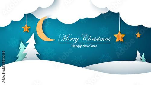 Zimowy krajobraz kreskówka papier. Jodła, księżyc, chmura, gwiazda, śnieg. Wesołych Świąt. Szczęśliwego Nowego Roku.