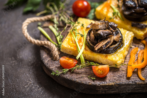 corn polenta with roasted mushrooms and eggplant ...