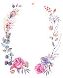 Floral greeting wreath with roses - 184431607
