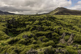majestic landscape with scenic mountains, moss and cloudy sky in Iceland