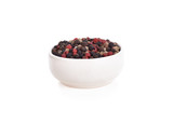 Peppercorn mix in bowl on the white background - 184434240