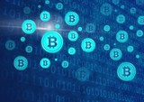 bitcoin graphic icons and binary code - 184434616