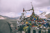 stupa and prayer flags in Indian Himalayas, Ladakh region
