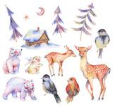 Set of watercolor cute polar bears, deer, fawn, hare - 184435674