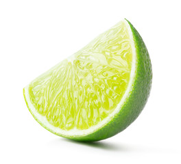 single slice of lime isolated on white background