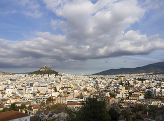 View of the Likavitos hill from the streets of the Athens district of Anafiotica near Acropolis