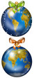 Christmas planet Earth decorations illustrated set