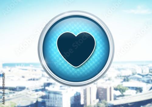 Sticker heart icon in city
