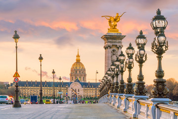 The Alexander III Bridge across Seine river in Paris