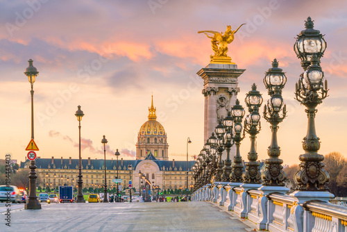 The Alexander III Bridge across Seine river in Paris Poster