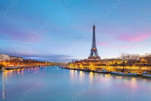 The Eiffel Tower and river Seine at twilight in Paris