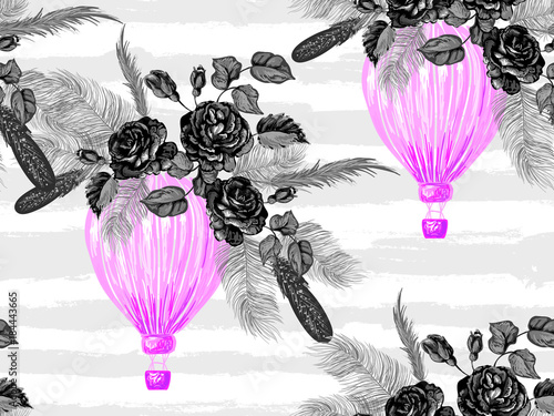Seamless pattern with hot air balloons, rose flowers, feathers vector background. Perfect for wallpaper, pattern fill, web page background, surface textures, textile - 184443665