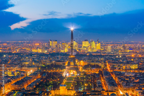 Fridge magnet Skyline of Paris with Eiffel Tower at sunset in France