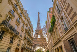 The Eiffel Tower and vintage buildings in Paris