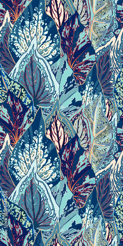 Blue Leaf Vector Seamless Illustration - 184444256