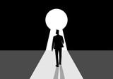 Businessman walking into keyhole - 184444421