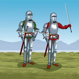 Medieval warriors on battlefield icon vector illustratio ngraphic design - 184447484