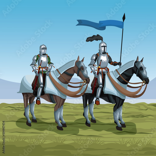 Poster Pistache Medieval warriors with horses on battlefield icon vector illustratio ngraphic design