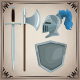 Medieval weapons icons icon vector illustration graphic design - 184447652