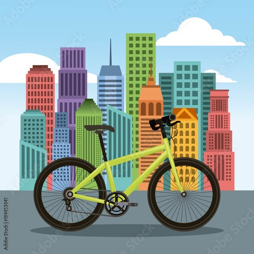 bike and city building town landscape vector illustration