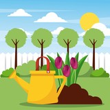 watering planting flowers and filed tree sun clouds vector illustration - 184454649