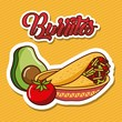 burritos in bowl avocado and tomato mexican food vector illustration - 184455445