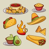 mexican food set icons menu ingredients spicy vector illustration - 184455461