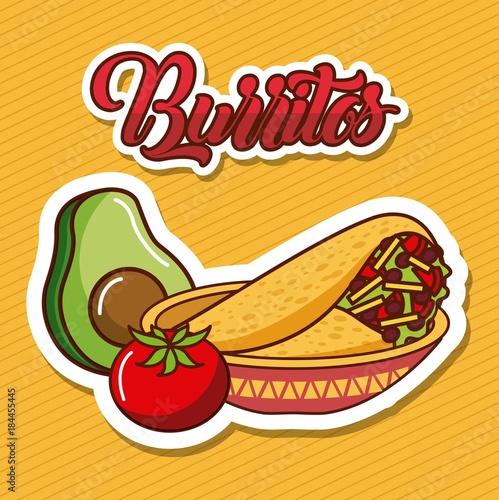 burritos in bowl avocado and tomato mexican food vector illustration - 184455445