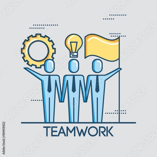 Fridge magnet people business teamwork creativity cooperation success vector illustration