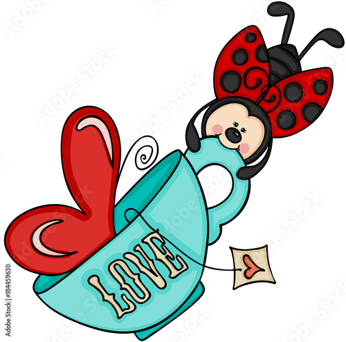 Ladybird flying with tea cup