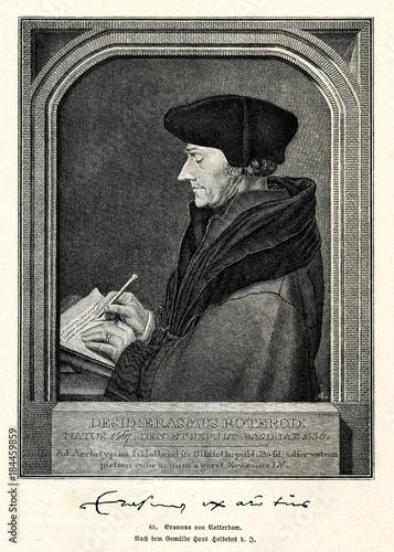 Fotobehang Rotterdam Portrait of Erasmus of Rotterdam, Dutch Renaissance humanist, Hans Holbein the Younger, 1523 (from Spamers Illustrierte Weltgeschichte, 1894, 5[1], 175)