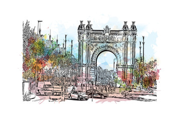 Watercolor painting with splash and sketch of Spain. Barcelona. Triumphal Arch. Hand drawn city sketch. Vector illustration.