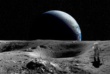 Astronaut on the Moon. Planet earth in background. Elements of this image furnished by NASA