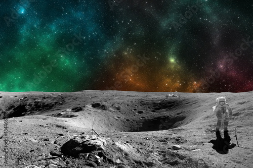 Aluminium Nasa Astronaut on moon surface. Elements of this image furnished by NASA