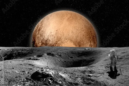 Foto op Aluminium Nasa Astronaut on moon surface. Mars in background. Elements of this image furnished by NASA
