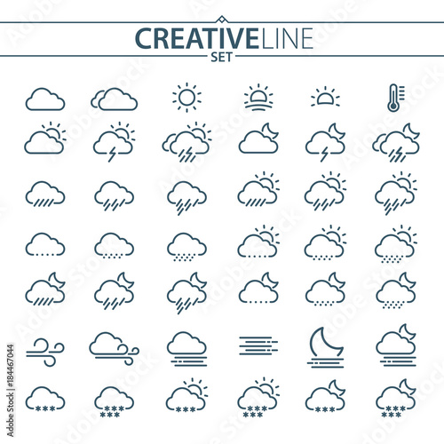 Fototapeta Flat Light Weather Icons For Mobile And Web Design
