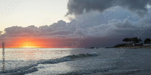 Poster Zee zonsondergang levant nuageux