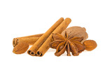 aniseed, cinnamon, almonds, nutmeg isolated on white background - 184473869
