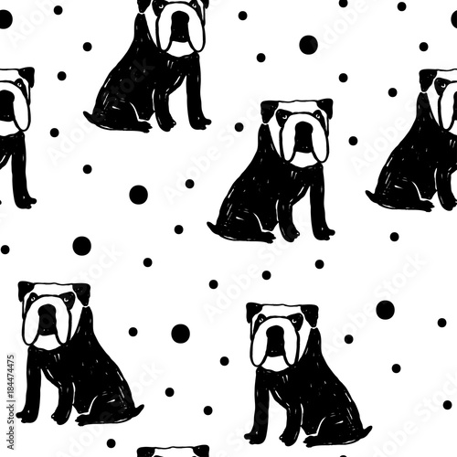 fototapeta na ścianę Vector seamless cartoon pattern with bulldog. Black and white hand drawn dog pattern for paper, textile, handmade decoration, scrap-booking, polygraphy, t-shirt, cards.