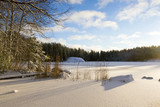 Winter landscape in Finland. Snowy ground and lake ice with sunlight. Beautiful moment on a cold morning. - 184478085