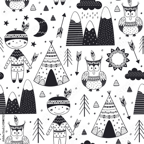 seamless pattern with tribal boy and owl in Scandinavian style - vector illustration, eps - 184478249