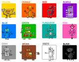 main colors cartoon educational set with robots - 184479424