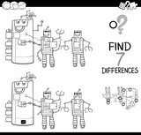 differences with robot characters color book - 184479443