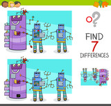 differences game with comic robot characters - 184479470